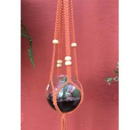 Suspension macramé, orange corail, 100 cm