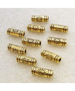 10 perles tube alliage or - 9,5 * 3,5 mm