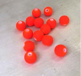 8 mm, 20 perles en résine, fluo orange,